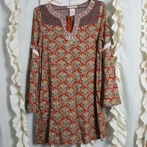Flying Tomato boho style dress split bell sleeve